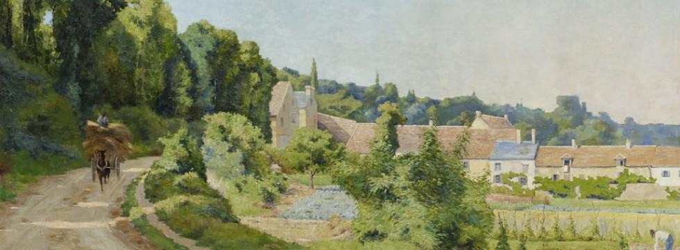 Gezicht op een dorp in een heuvelachtig landschap,Gaston Prunier
