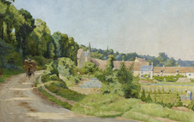 """""""View of a village in a hilly landscape"""", 1888 by Gaston Prunier"""
