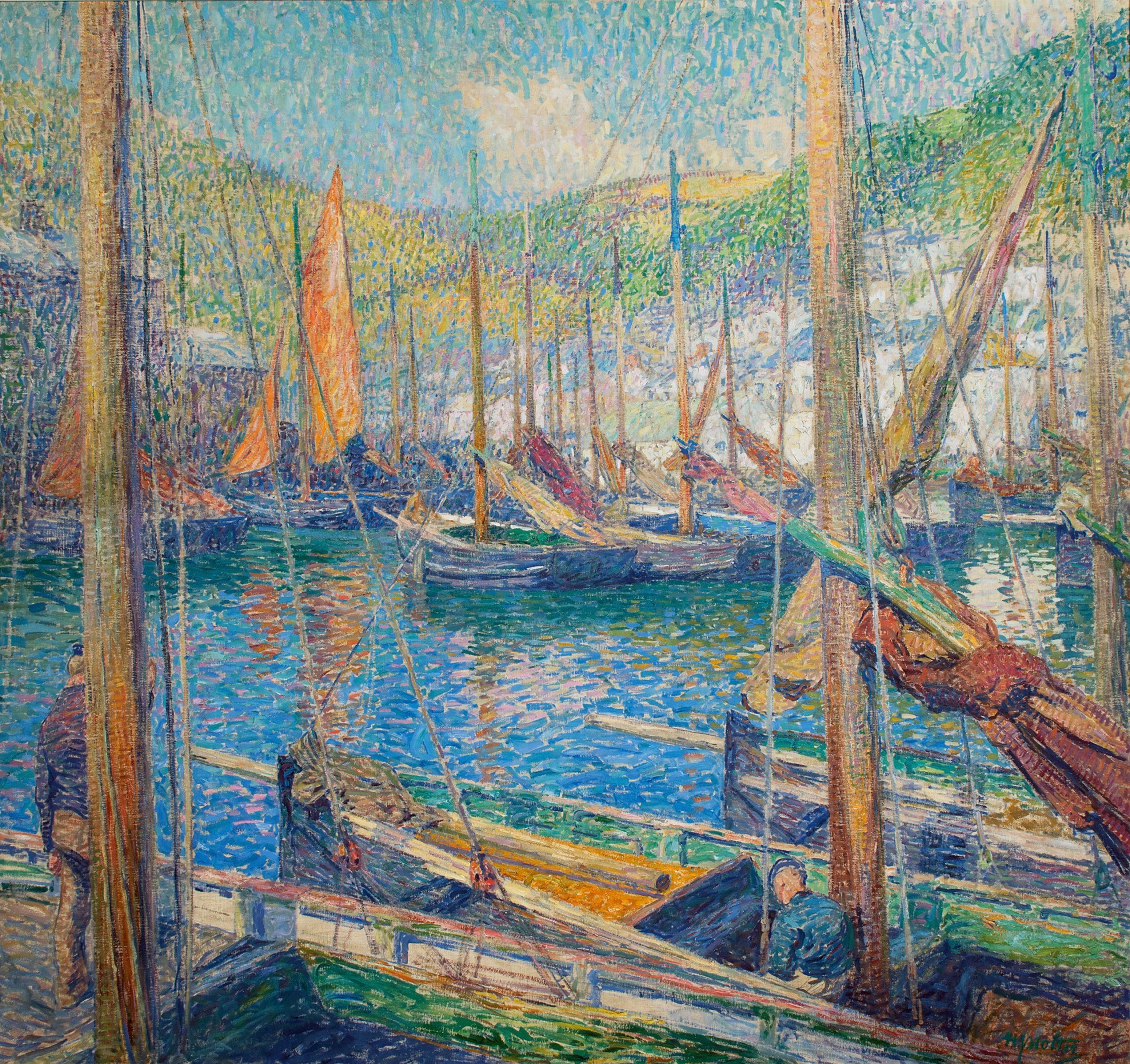 Haven van Polperro, Engeland, ca. 1917 door H.J. Wolter