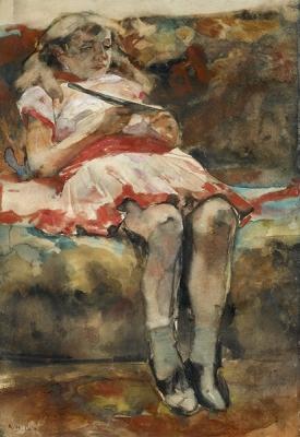 George Hendrik Breitner - Jong meisje op een divan
