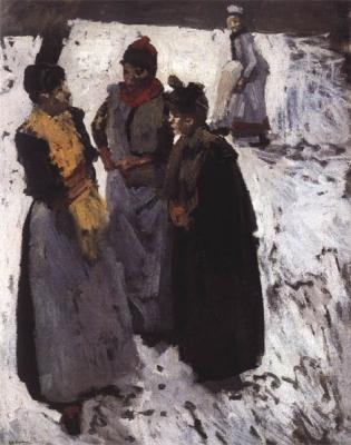 George Hendrik Breitner - Drie vrouwen in gesprek in de sneeuw