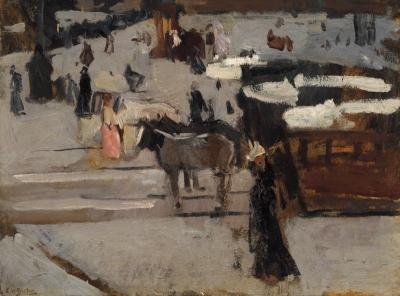 George Hendrik Breitner - Paardentrams en figuren op een plein