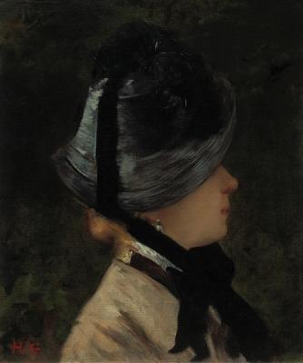 Gervex, Henri - Portret van een jonge vrouw met zwarte hoed en parel oorring