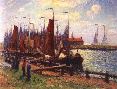 Gezicht op de haven van Volendam
