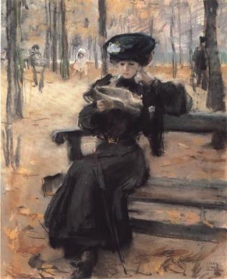 Israels, Isaac - Lezende dame in de jardin des Tuileries
