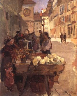 Isaac Israels - Groentemarkt aan de Kramgasse te Bern, ca. 1915