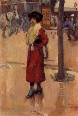 Israels, Isaac - Parisienne met rode mantel
