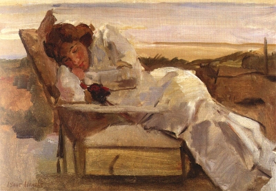 Israels, Isaac - Rustende jonge vrouw in ligstoel op het duin