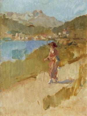 Israels, Isaac - Wandelende dame bij het Meer van Sankt Moritz