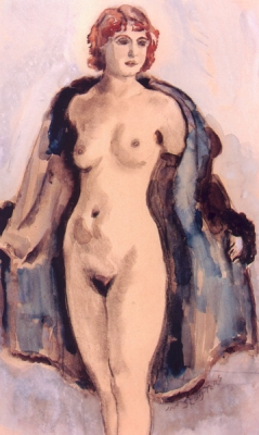 Sluijters, Jan - Vrouw met open blauwe mantel