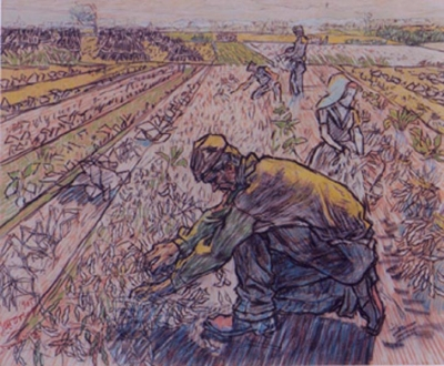 Toorop, Jan - Picking beans in the morning, Domburg