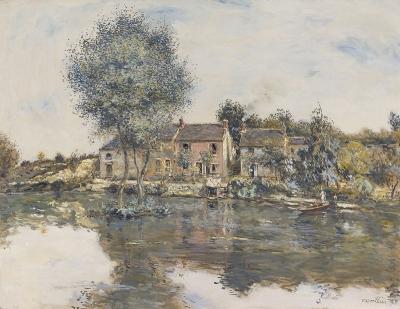 Raffaelli, Jean Francois - La maison rose, bord de l'Oise
