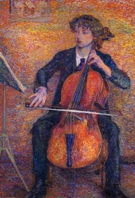 Portret van een jonge man die cello speelt