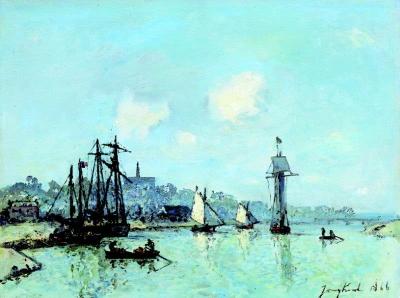 Jongkind, Johan Barthold - Bateaux à l'embouchure de la Touques