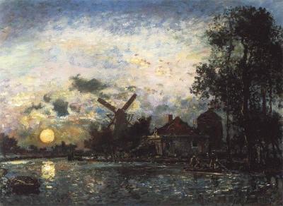 Jongkind, Johan Barthold - Canal en Hollande; coucher du soleil