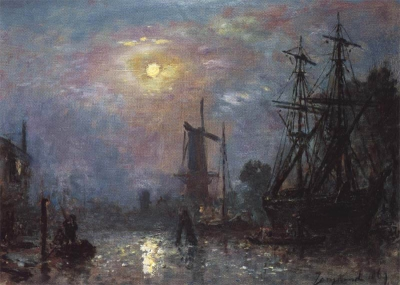 Jongkind, Johan Barthold - Le port aux saumons à Rotterdam