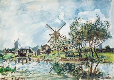 Jongkind, Johan Barthold - Le canal aux deux moulins, Rotterdam