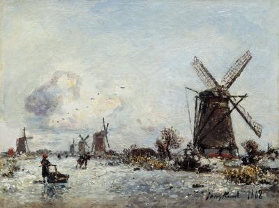 Jongkind, Johan Barthold - Patineurs en Hollande