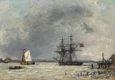 Jongkind, Johan Barthold - Brick et bargues à la'embouchure de la Meuse