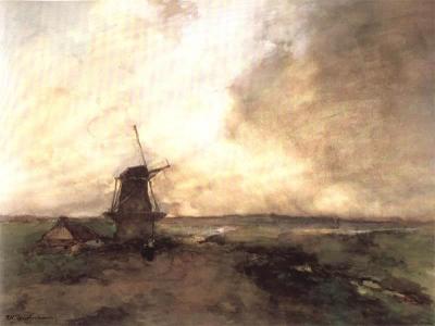 Weissenbruch, Johan Hendrik - Polderlandschap met stellingmolen