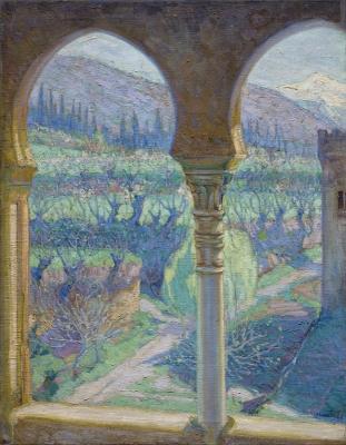 Gomez-Fraile, Julian - Gezicht van het Alhambra op de Sierra Nevada