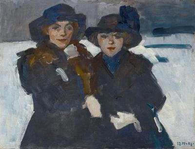 Maks, Kees - Twee jonge vrouwen in de sneeuw