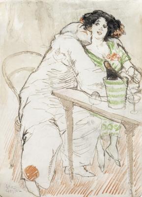 Gestel, Leo - Caféscène met Pierrot