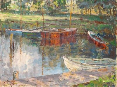 Jan Altink - Zeilboten aan de oever van het Paterswoldsemeer