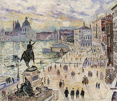 Venetië met wandelaars op de kade in Venetië