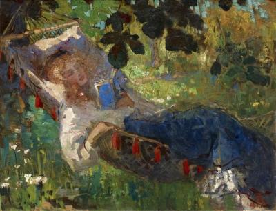 Graafland, Robert - Lezend meisje in een hangmat