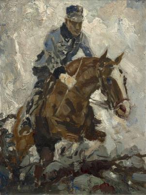 """Graafland, Robert - Pahud de Mortanges op zijn paard """"Mädel wie Du"""", 1937"""