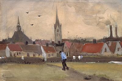 Gezicht op Den Haag met de Nieuwe Kerk