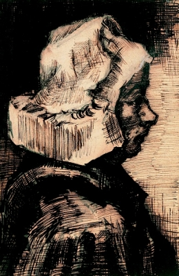 Head of a peasant woman: right profile against window