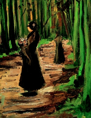 Two women in the woods