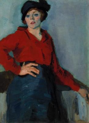 Pollones, Jean Albert - Vrouw met rode blouse