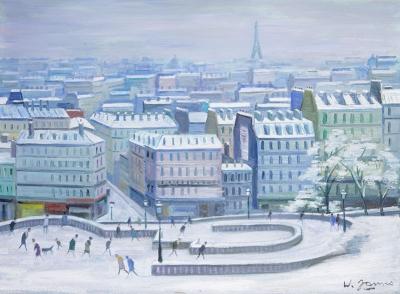 James, Willy - Vue de Paris sous de la neige, du Sacré Coeur