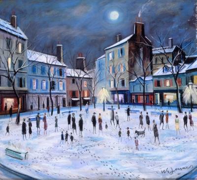 James, Willy - Place du Tertre, le soir sous la neige