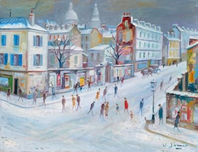 James, Willy - La rue et le Sacré-Coeur sous neige