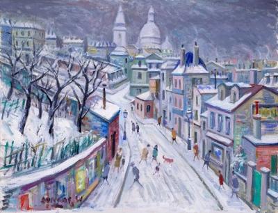 James, Willy - Montmartre, rue de l'Abreuvoir sous la neige