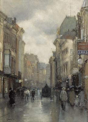 Wagenstraat met theater Scala in Den Haag