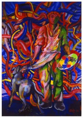 Chia, Sandro - Portret van de schilder en zijn hond