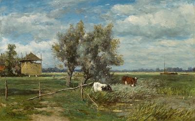 Roelofs, Willem - Koeien bij de hooiberg