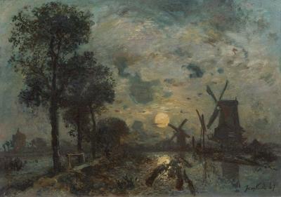 """""""Moulins au Claire de Lune, Schiedam"""", 1867"""