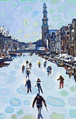 Skating on the Canals, Amsterdam with Church tower