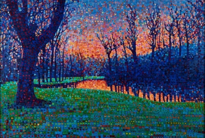 Sunset over Backershagen Pond, Holland