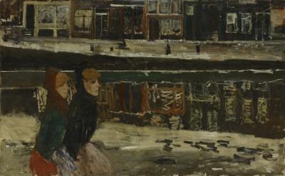 George Hendrik Breitner - Twee vrouwen langs een gracht