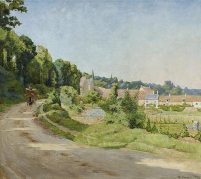 Gezicht op een dorp in een heuvelachtig landschap
