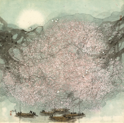 Aalscholvers in een landschap / Cormorants in a landscape - Zhao Zhunwang