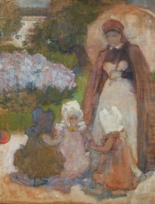 Koning, Edzard - Gouvernante met drie meisjes in het park