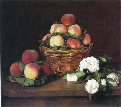 Victoria Dubourg - Nature morte aux fleurs et pêches, 1874